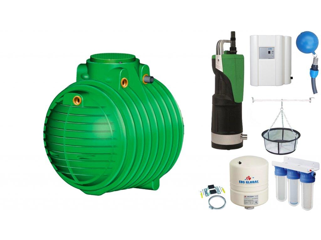 Sada plastové retenční akumulační nádrže na dešťovou vodu Columbus 6500 L