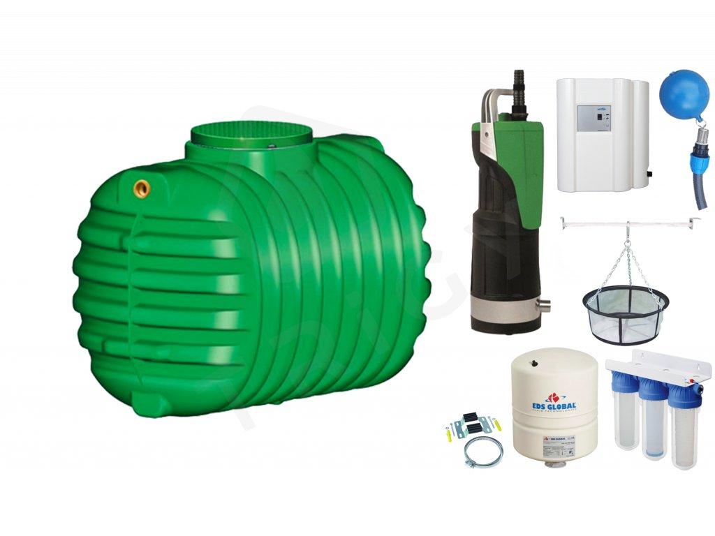 Sada plastové retenční akumulační nádrže na dešťovou vodu Cristall 1600 L