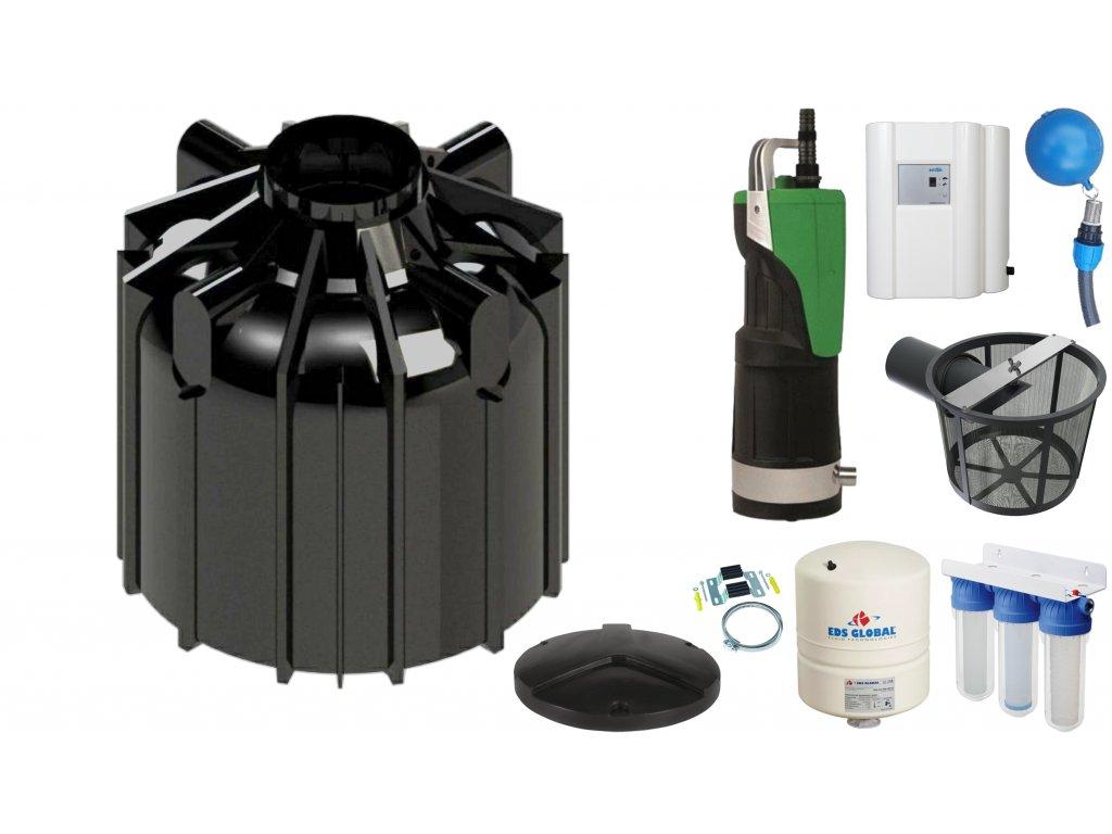 Sada plastové retenční akumulační nádrže na dešťovou vodu Globo line 8300 L