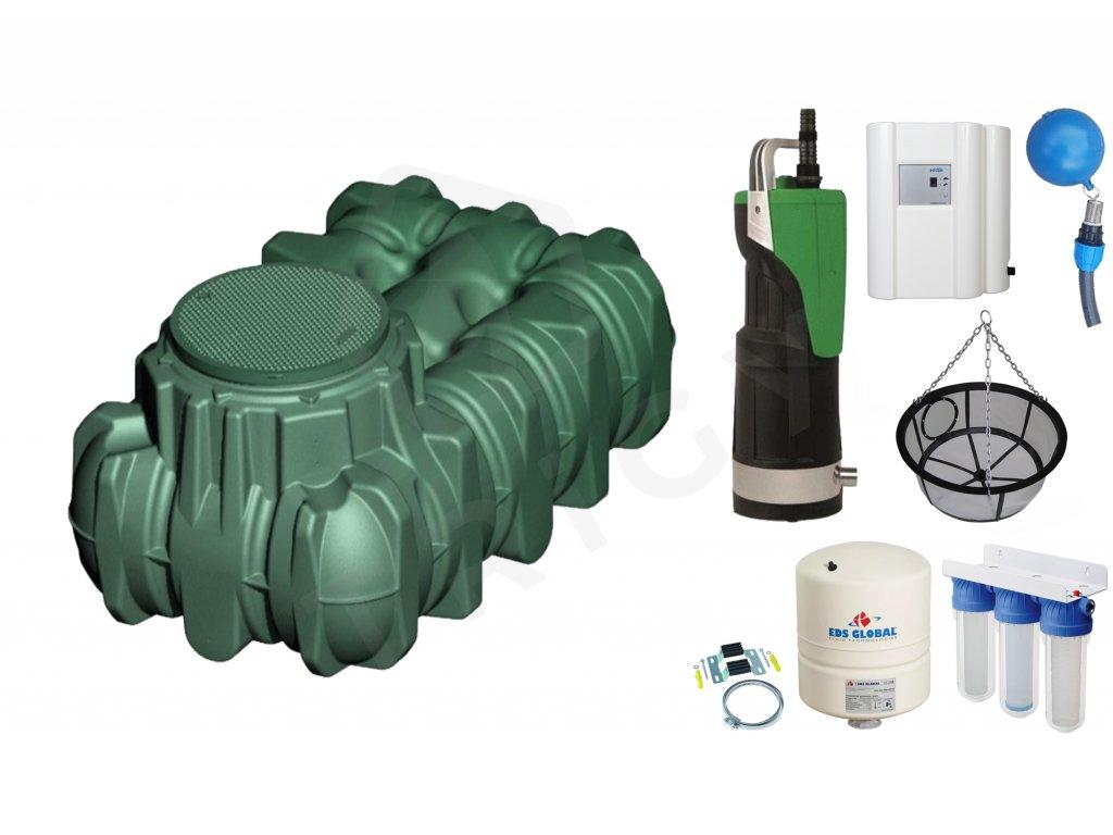 Sada plastové retenční akumulační nádrže na dešťovou vodu Li Lo 1500 L