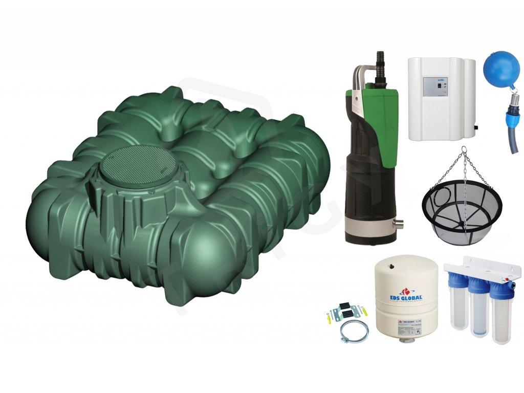 Sada plastové retenční akumulační nádrže na dešťovou vodu Li Lo 3000 L
