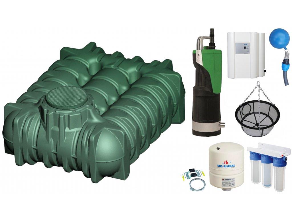 Sada plastové retenční akumulační nádrže na dešťovou vodu Li Lo 5000 L
