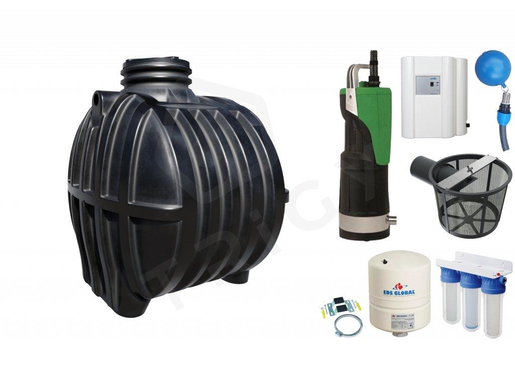 Sada plastové retenční akumulační nádrže na dešťovou vodu Smart 5000 L