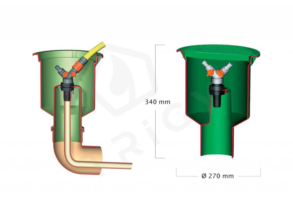 Šachta rozvodu vody s dvoucestným ventilem