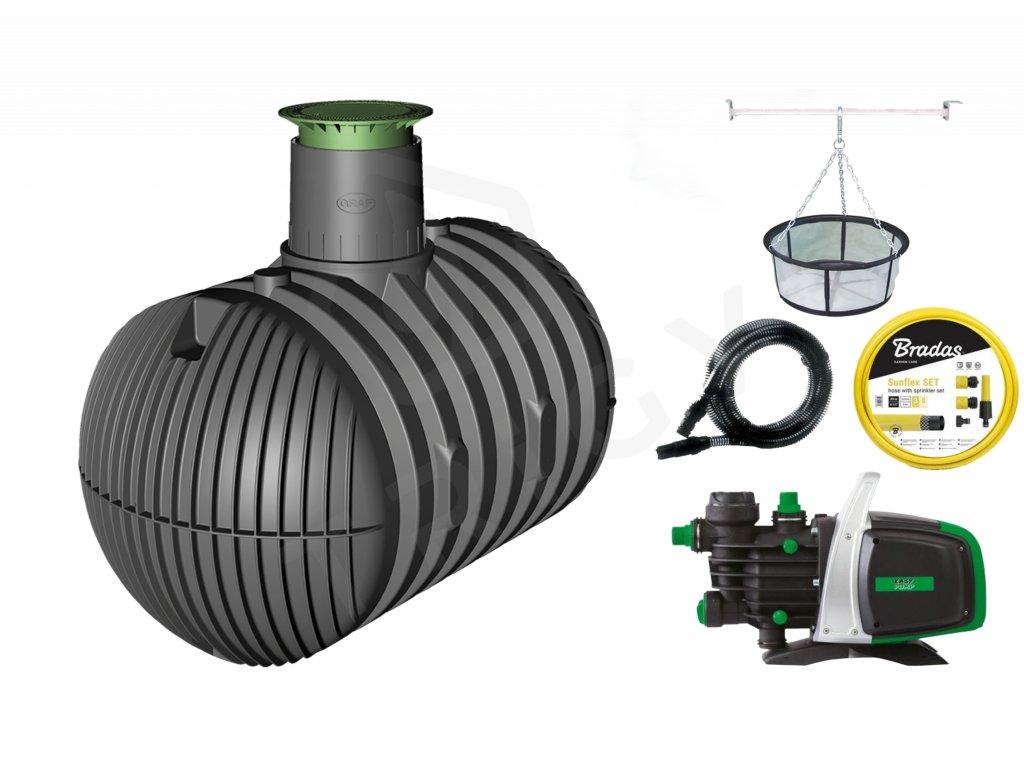 Sada plastové retenční akumulační nádrže na dešťovou vodu Columbus XL 8 500 L