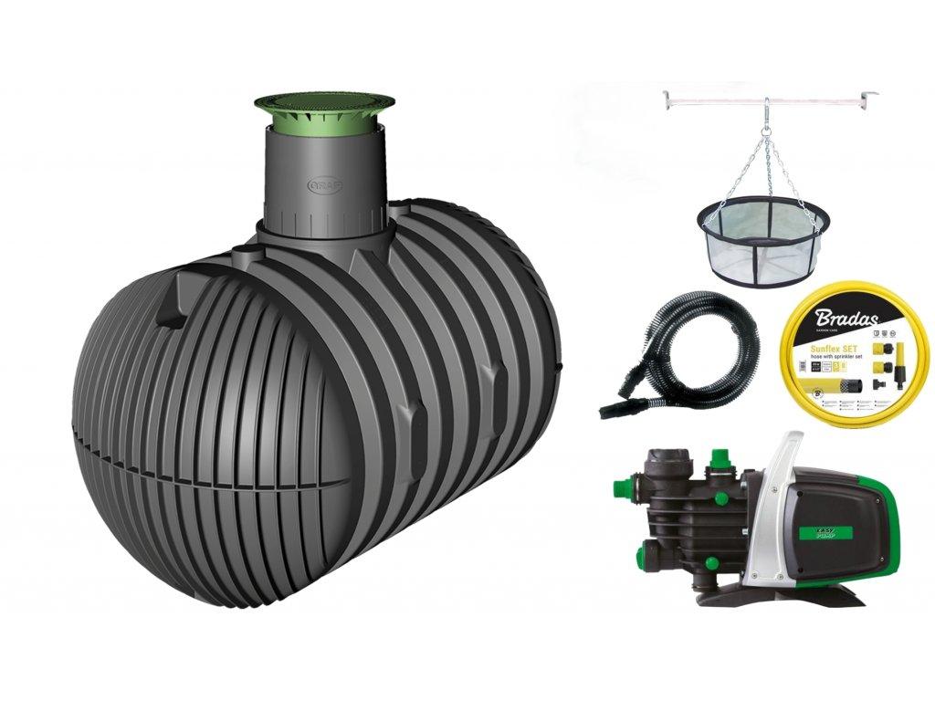 Sada plastové retenční akumulační nádrže na dešťovou vodu Columbus XL 10 000 L