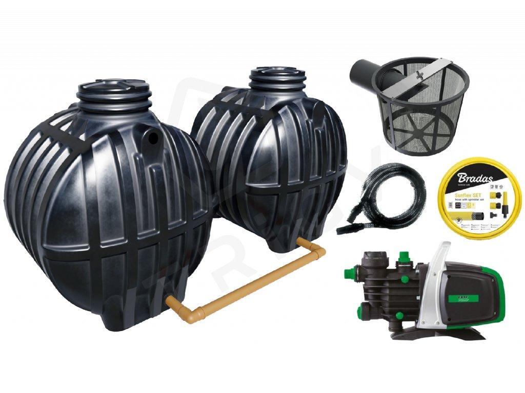 Sada plastové retenční akumulační nádrže na dešťovou vodu Smart 10 000 L