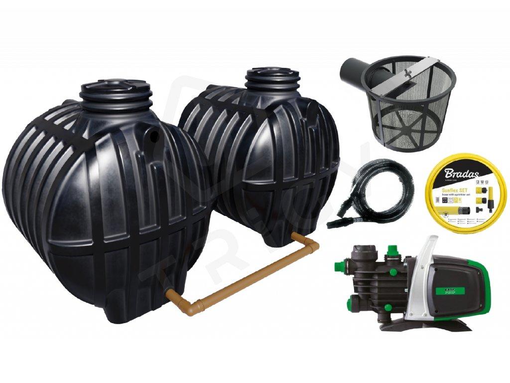 Sada plastové retenční akumulační nádrže na dešťovou vodu Smart 12 000 L
