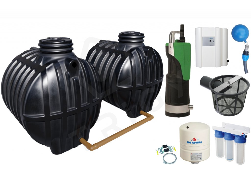 Sada plastové retenční akumulační nádrže na dešťovou vodu Smart 12000 L