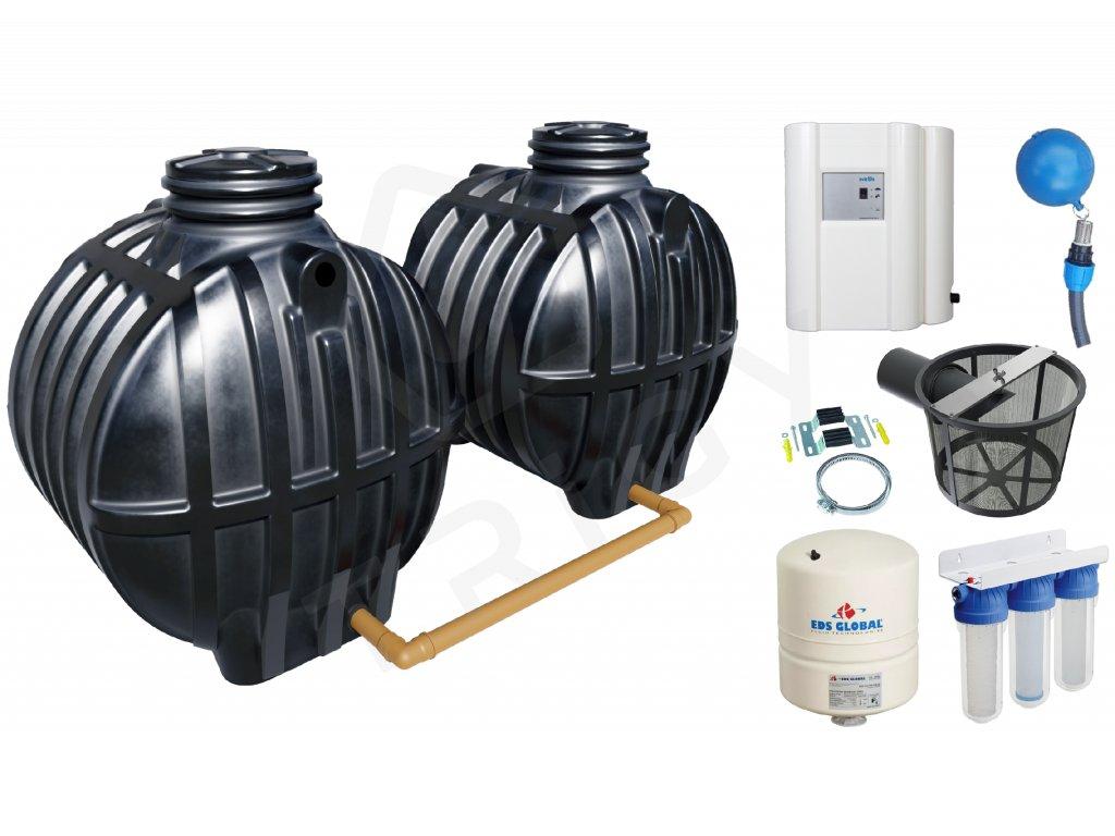 Sada plastové retenční akumulační nádrže na dešťovou vodu Smart 10000 L