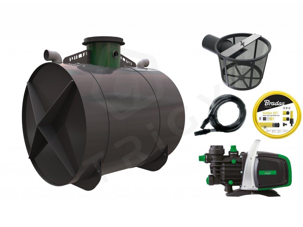 Sada plastové retenční akumulační nádrže na dešťovou vodu Profi 6 000 L