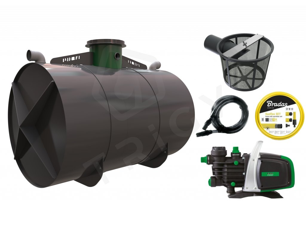 Sada plastové retenční akumulační nádrže na dešťovou vodu Profi 8 000 L