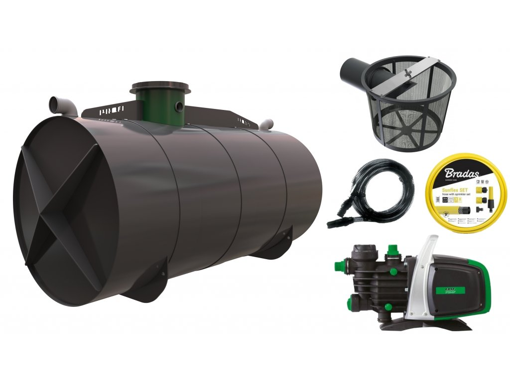 Sada plastové retenční akumulační nádrže na dešťovou vodu Profi 11 000 L