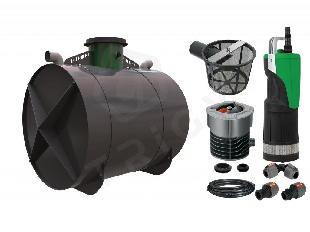 Sada plastové retenční akumulační nádrže na dešťovou vodu Profi 6000 L