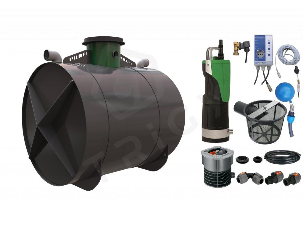 Sada plastové retenční akumulační nádrže na dešťovou vodu Profi 6000 L s filtračním košem a dopouštěním Afriso