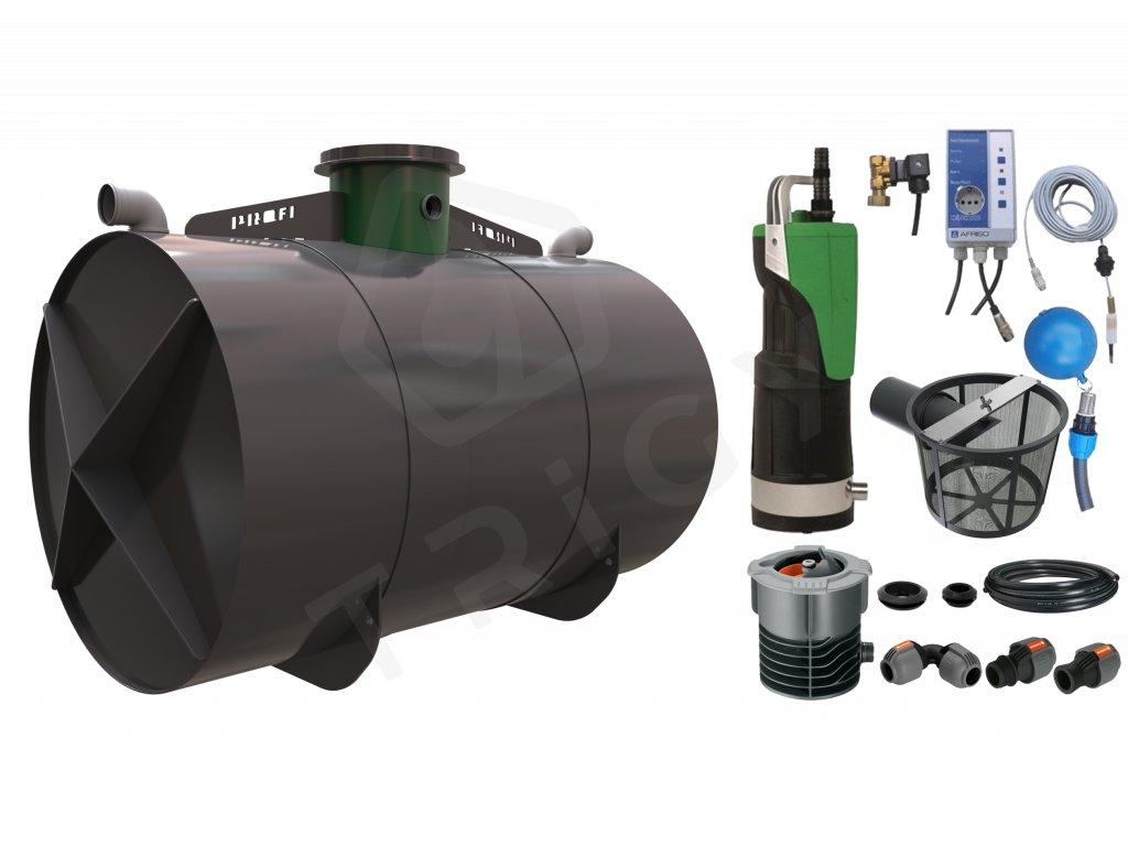 Sada plastové retenční akumulační nádrže na dešťovou vodu Profi 8000 L s filtračním košem a dopouštěním Afriso