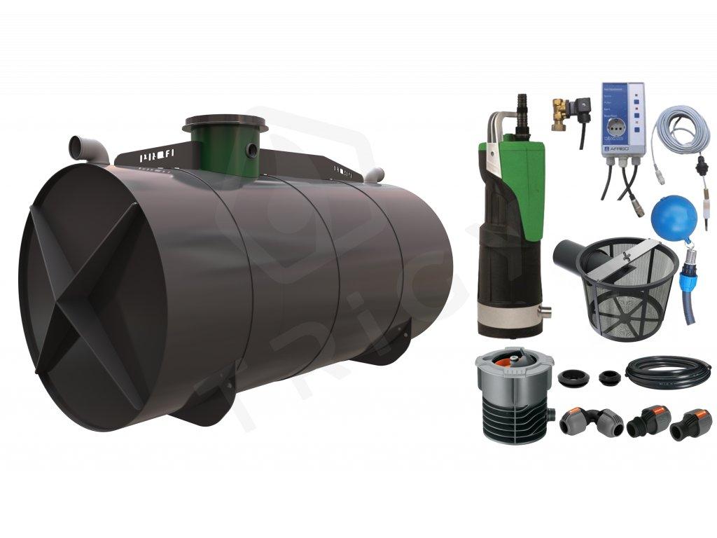 Sada plastové retenční akumulační nádrže na dešťovou vodu Profi 11000 L s filtračním košem a dopouštěním Afriso