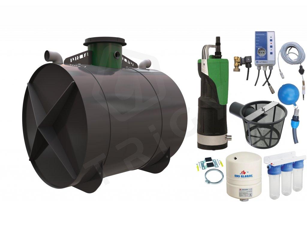 Sada plastové retenční akumulační nádrže na dešťovou vodu Profi 6000L