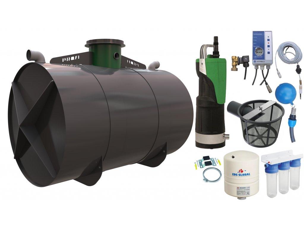 Sada plastové retenční akumulační nádrže na dešťovou vodu Profi 8000L