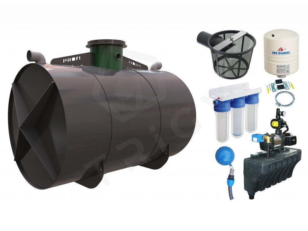 Sada plastové retenční akumulační nádrže na dešťovou vodu Profi 8000 L