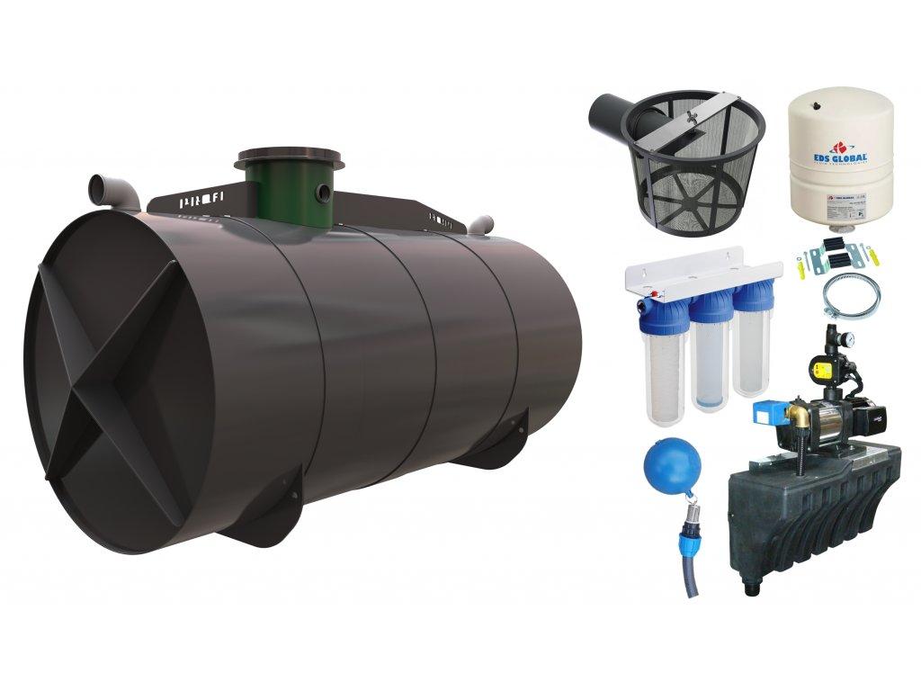 Sada plastové retenční akumulační nádrže na dešťovou vodu Profi 11000L