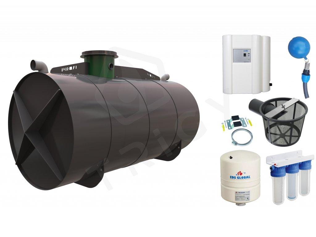 Sada plastové retenční akumulační nádrže na dešťovou vodu Profi 11000 L