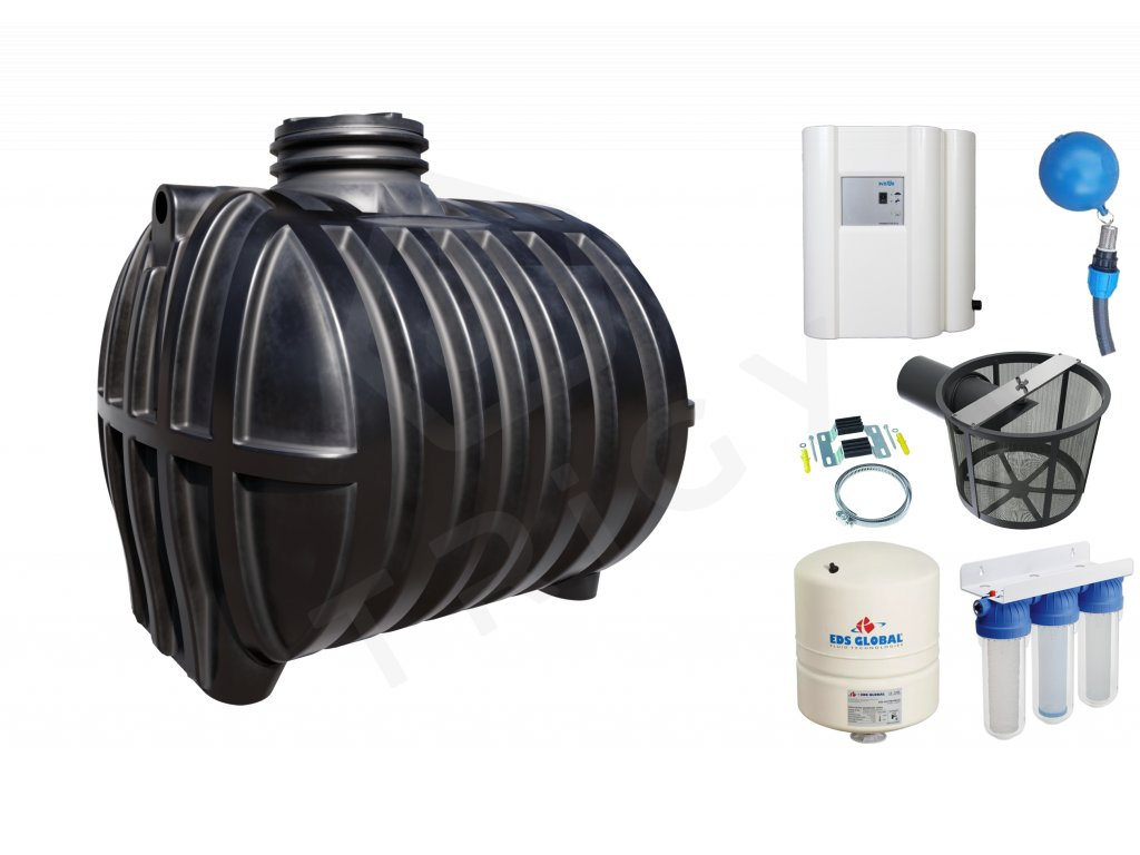 Sada plastové retenční akumulační nádrže na dešťovou vodu Smart 7000 L