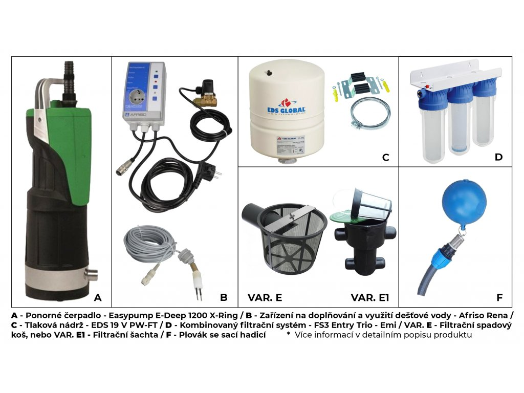 Sada plastové retenční akumulační nádrže na dešťovou vodu Aqua 5000 L