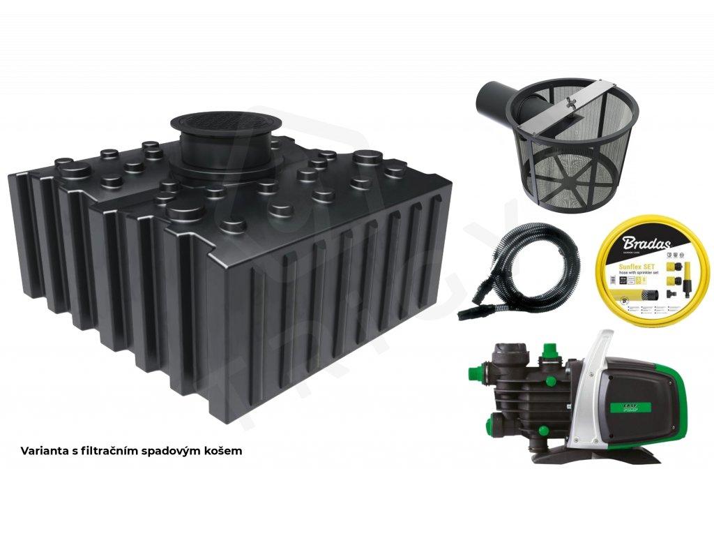 Sada plastové retenční akumulační nádrže na dešťovou vodu Aqua 5000 L s filtračním košem