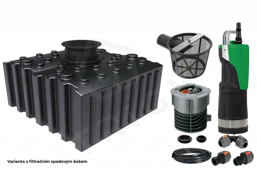 Plastová retenční akumulační nádrž na dešťovou vodu Aqua 5000 L s filtračním košem