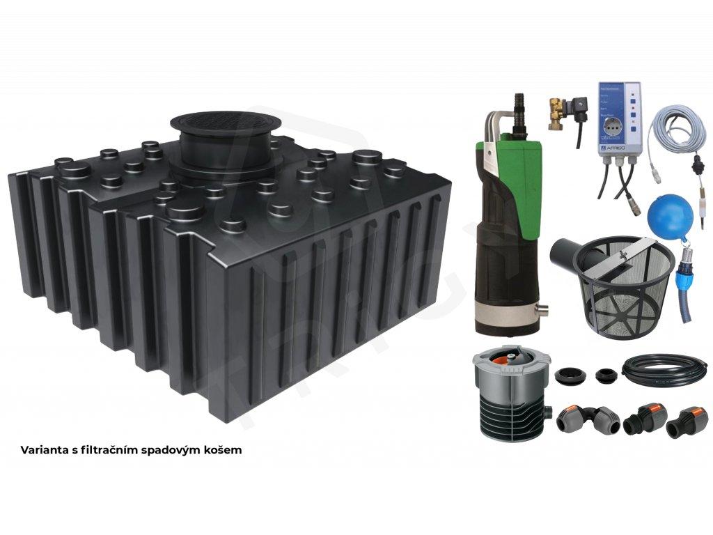 Sada plastové retenční akumulační nádrže na dešťovou vodu Aqua 5000 L s filtračním košem a dopouštěním Afriso