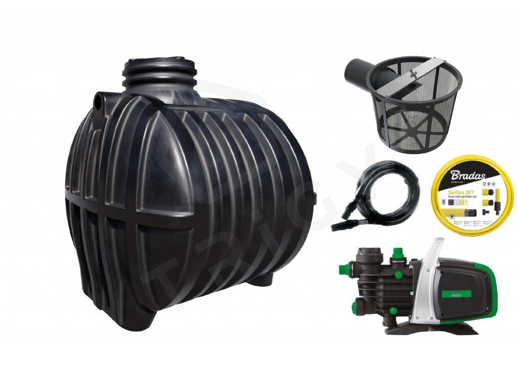 Sada plastové retenční akumulační nádrže na dešťovou vodu Smart 6 000 L