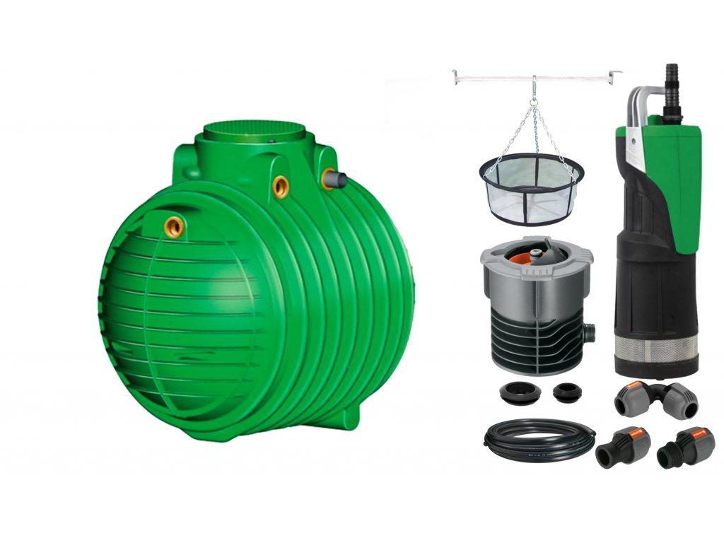 Sada plastové retenční akumulační nádrže na dešťovou vodu Columbus 3700 L