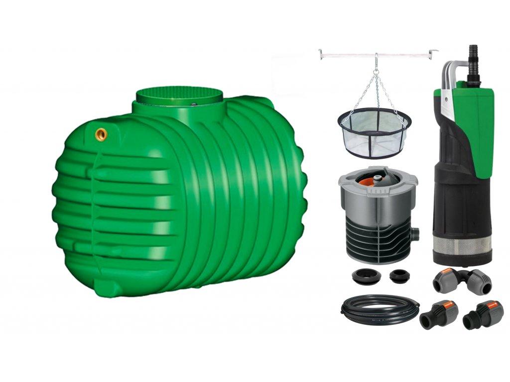Sada plastové retenční akumulační nádrže na dešťovou vodu Cristall 2 650 L