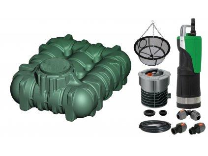 Sada plastové retenční akumulační nádrže na dešťovou vodu Li Lo 3 000 L