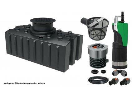 Sada plastové retenční akumulační nádrže na dešťovou vodu Aqua 2000 L s filtračním košemGreen life Aqua 2000L s filtračním košem
