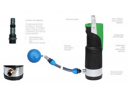 Čerpadlo se sací hadicí a plovákem Easypump E-Deep X-Ring 1200