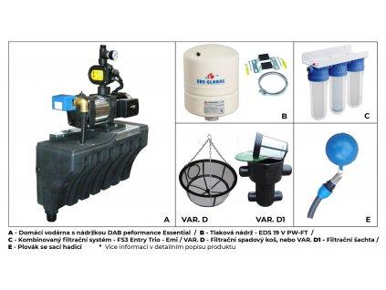 Sada plastové retenční akumulační nádrže na dešťovou vodu Li-lo 1500 L