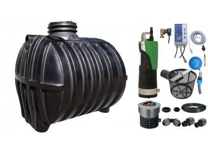 Sada plastové retenční akumulační nádrže na dešťovou vodu Smart 7 000 L