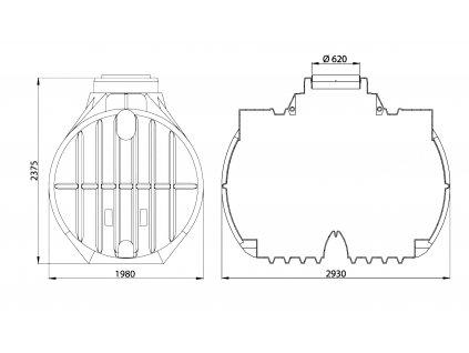 Sada plastové retenční akumulační nádrže na dešťovou vodu Atlantis 7 000 L