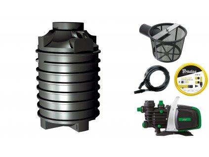 Sada plastové retenční akumulační nádrže na dešťovou vodu Clearo 2 000 L