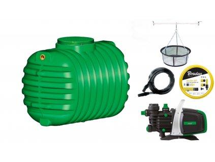 Sada plastové retenční akumulační nádrže na dešťovou vodu Cristall 1 600 L