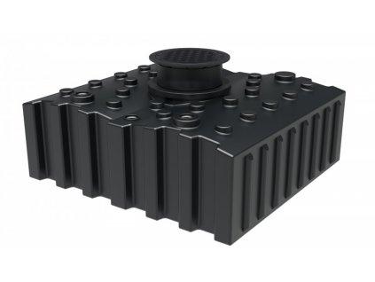 Sada plastové retenční akumulační nádrže na dešťovou vodu Aqua 4 200 L s filtračním košem