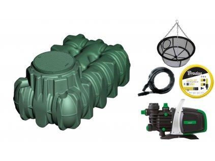 Sada plastové retenční akumulační nádrže na dešťovou vodu LiLo 1 500 L