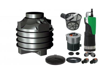 Sada plastové retenční akumulační nádrže na dešťovou vodu Clearo 1000 LClearo 1000L V03