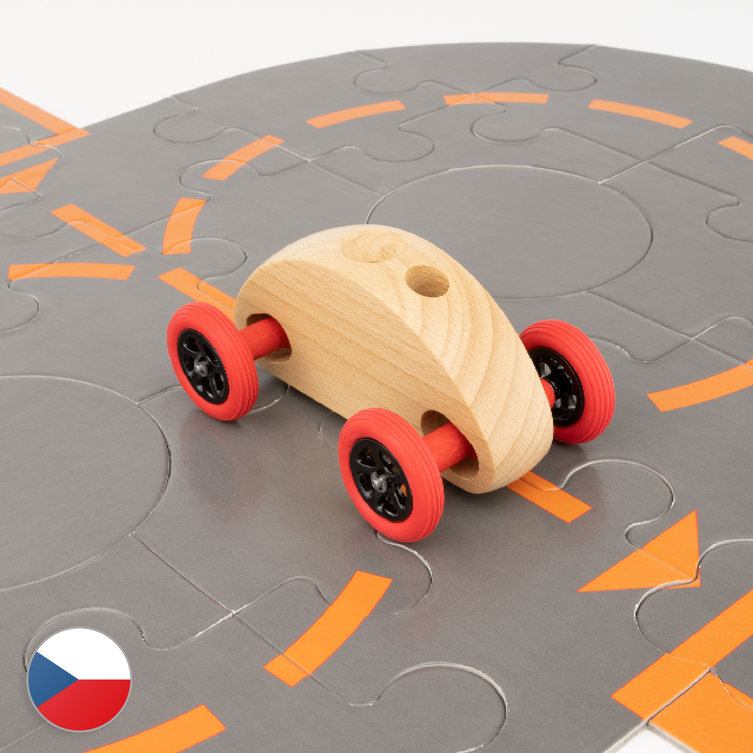 Trihorse Autíčko Finger Car přírodní s puzzle skládačkou