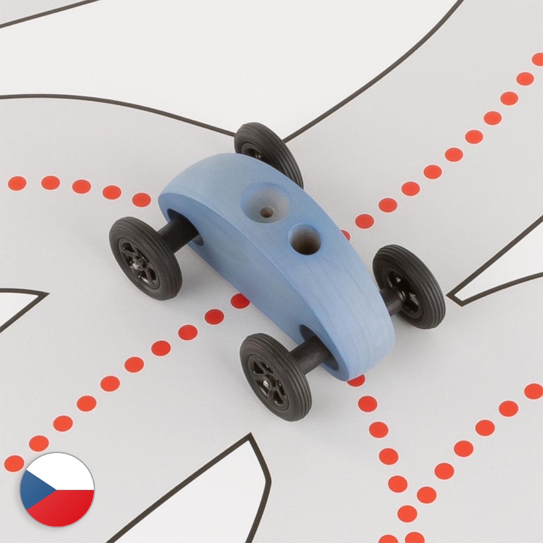 Trihorse Autíčko Finger Car modré se závodní dráhou