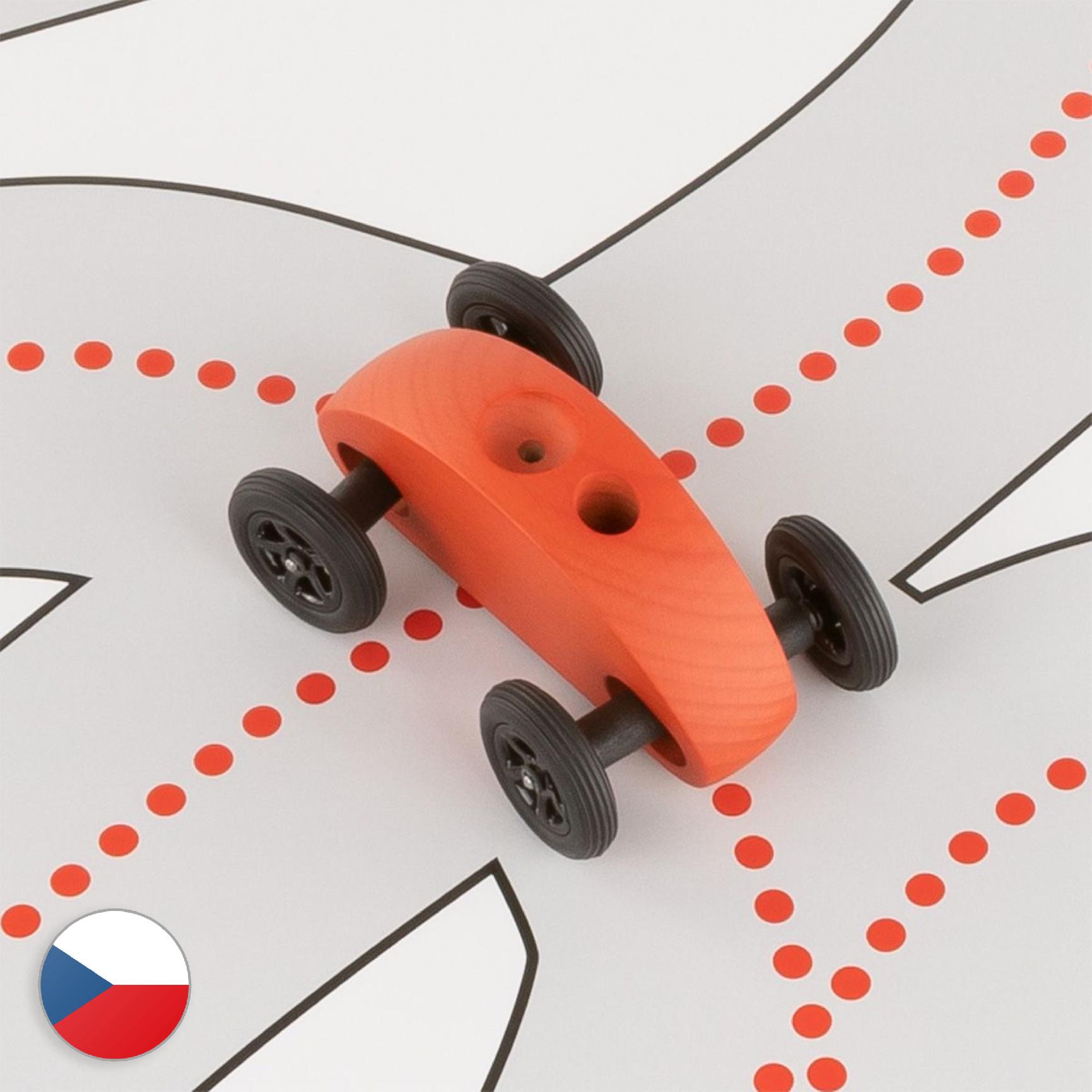 Trihorse Autíčko Finger Car červené se závodní dráhou