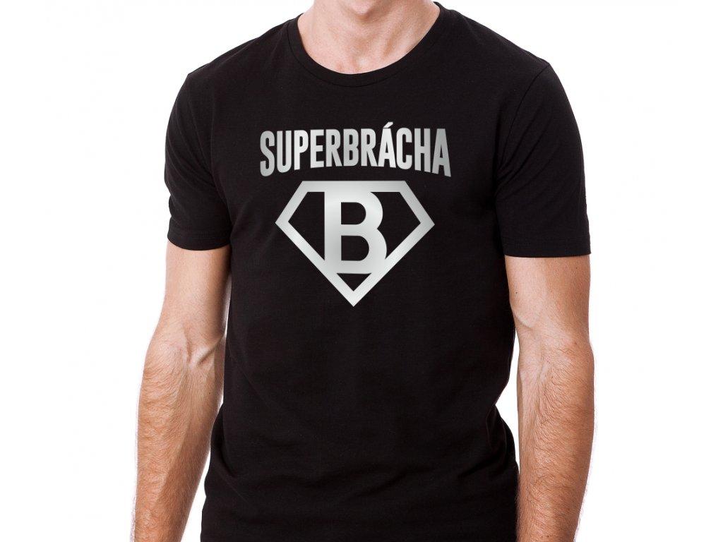 Tričko s potiskem pro bratra SUPER BRÁCHA černé se stříbrným potiskem