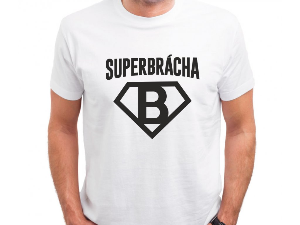 e04a2f5aa0f1 Pánské bílé triko pro bratra s potiskem SUPER BRÁCHA udělá jako dárek všem  sourozencům obrovskou radost.